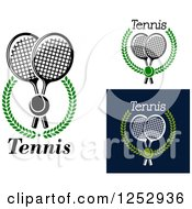 Clipart Of Tennis Balls Over Crossed Rackets In Laurel Wreaths Royalty Free Vector Illustration