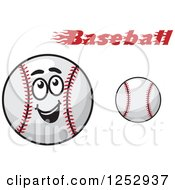 Clipart Of A Happy Baseball Character And Text Royalty Free Vector Illustration