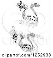 Clipart Of Grayscale Flowing Music Notes 2 Royalty Free Vector Illustration