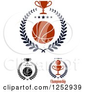 Clipart Of Basketballs With Stars Laurel Wreaths And Trophy Cups Royalty Free Vector Illustration