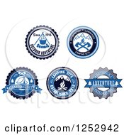 Clipart Of A Blue Black And White Camping Icon Designs Royalty Free Vector Illustration