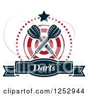 Clipart Of A Star And Dots Around A Banner Target And Crossed Throwing Darts With Text Royalty Free Vector Illustration