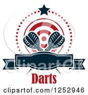 Clipart Of A Star And Dots Around A Banner Target And Throwing Darts With Text Royalty Free Vector Illustration