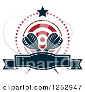 Clipart Of A Star And Dots Around A Banner Target And Throwing Darts Royalty Free Vector Illustration