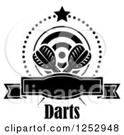 Clipart Of A Black And White Star And Dots Around A Banner Target And Throwing Darts With Text Royalty Free Vector Illustration