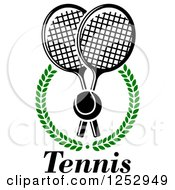 Clipart Of A Tennis Ball Over Crossed Rackets In A Laurel Wreath With Text Royalty Free Vector Illustration