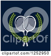 Clipart Of A Tennis Ball Over Crossed Rackets In A Laurel Wreath On Navy Blue Royalty Free Vector Illustration