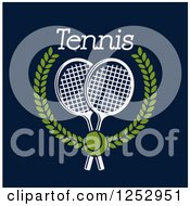 Clipart Of A Tennis Ball Over Crossed Rackets In A Laurel Wreath With Text On Navy Blue Royalty Free Vector Illustration