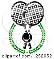 Clipart Of A Tennis Ball Over Crossed Rackets In A Laurel Wreath Royalty Free Vector Illustration by Vector Tradition SM