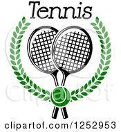 Clipart Of A Tennis Ball Over Crossed Rackets In A Laurel Wreath Under Text Royalty Free Vector Illustration
