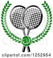 Clipart Of A Green Tennis Ball Over Crossed Rackets In A Laurel Wreath Royalty Free Vector Illustration by Vector Tradition SM