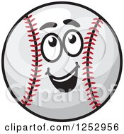 Clipart Of A Happy Baseball Character Looking Up Royalty Free Vector Illustration