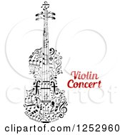 Clipart Of A Music Note Violin And Text Royalty Free Vector Illustration