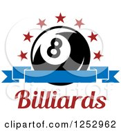 Clipart Of A Arch Of Stars And Banner Over An Eight Ball With Billiards Text Royalty Free Vector Illustration