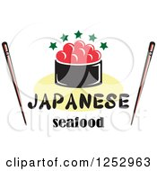 Clipart Of Caviar With Japanese Seafood Text And Chopsticks Royalty Free Vector Illustration