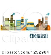 Clipart Of A Colorful Factory With Chemical Text Royalty Free Vector Illustration