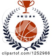 Clipart Of A Basketball With Stars In A Laurel Wreath With A Trophy Cup Royalty Free Vector Illustration
