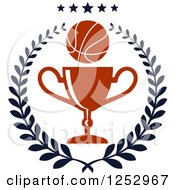 Clipart Of A Basketball And Trophy Cup In A Laurel Wreath Under Stars Royalty Free Vector Illustration