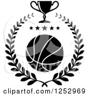 Clipart Of A Black And White Basketball With Stars In A Laurel Wreath With A Trophy Cup Royalty Free Vector Illustration
