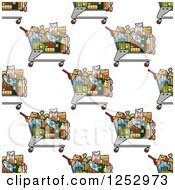 Clipart Of A Seamless Background Of Grocery Shopping Carts Royalty Free Vector Illustration