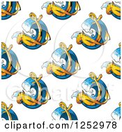 Clipart Of A Seamless Background Pattern Of Anchors And Waves Royalty Free Vector Illustration