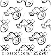 Clipart Of A Seamless Background Pattern Of Black And White Satellites Royalty Free Vector Illustration