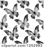 Clipart Of A Seamless Black And White Butterfly Background Pattern 7 Royalty Free Vector Illustration