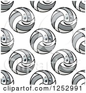 Clipart Of A Seamless Background Pattern Of Happy Volleyballs Royalty Free Vector Illustration by Vector Tradition SM