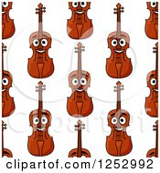 Clipart Of A Seamless Background Pattern Of Happy Violins Royalty Free Vector Illustration