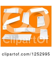 Clipart Of Stapled Notes On Orange Royalty Free Vector Illustration