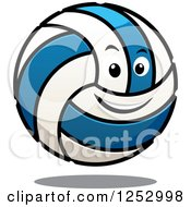 Clipart Of A Blue And White Volleyball Character Royalty Free Vector Illustration by Vector Tradition SM