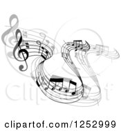Clipart Of A Grayscale Flowing Music Notes 4 Royalty Free Vector Illustration