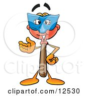 Sink Plunger Mascot Cartoon Character Wearing A Blue Mask Over His Face