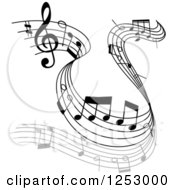 Clipart Of A Grayscale Flowing Music Notes 3 Royalty Free Vector Illustration