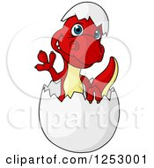 Clipart Of A Cute Red And Yellow Baby Dinosaur Waving And Hatching Royalty Free Vector Illustration