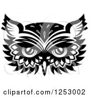 Clipart Of A Black And White Owl Face Tribal Tattoo 6 Royalty Free Vector Illustration
