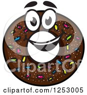 Clipart Of A Chocolate Sprinkle Donut Royalty Free Vector Illustration