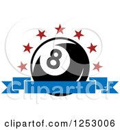 Clipart Of An Arch Of Stars And Banner Over A Billiards Eight Ball Royalty Free Vector Illustration by Seamartini Graphics