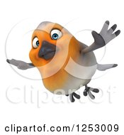 Clipart Of A 3d Red Robin Bird Flying Royalty Free Illustration