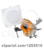 Clipart Of A 3d Red Robin Bird Flying And Holding A Blank Sign Royalty Free Illustration