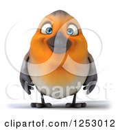 Clipart Of A 3d Red Robin Bird Smiling Royalty Free Illustration by Julos