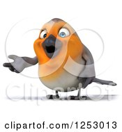 Clipart Of A 3d Red Robin Bird Presenting Royalty Free Illustration