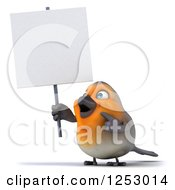 Clipart Of A 3d Red Robin Bird Pointing And Holding A Blank Sign Royalty Free Illustration