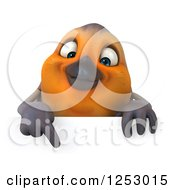 Clipart Of A 3d Red Robin Bird Pointing Down At A Sign Royalty Free Illustration