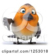 Clipart Of A 3d Red Robin Bird Holding A Thumb Down Royalty Free Illustration