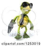 Clipart Of A 3d Business Tortoise Wearing Sunglasses And Walking Royalty Free Illustration