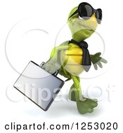 Clipart Of A 3d Business Tortoise Wearing Sunglasses And Walking 2 Royalty Free Illustration
