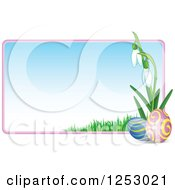 Clipart Of A Gradient Easter Sign With Eggs And Snowdrop Flowers Royalty Free Vector Illustration