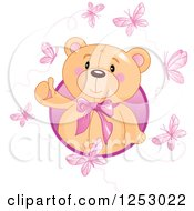 Clipart Of A Cute Teddy Bear Emerging From A Circle With Pink Butterflies Royalty Free Vector Illustration
