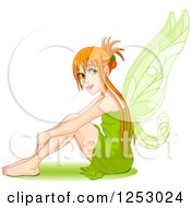 Clipart Of A Female Red Haired Fairy Hugging Her Knees Royalty Free Vector Illustration